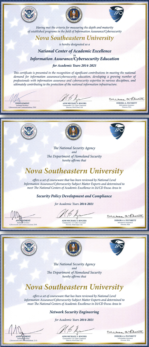 nsa dhs certificates